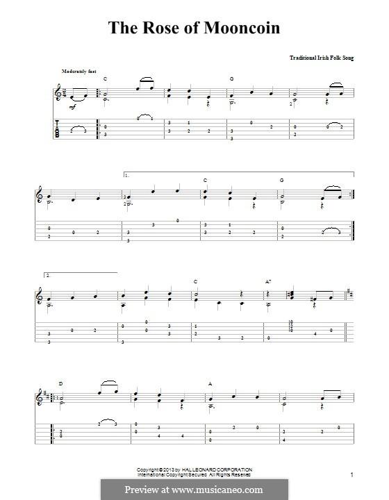 The Rose of Mooncoin: Для гитары с табулатурой by folklore