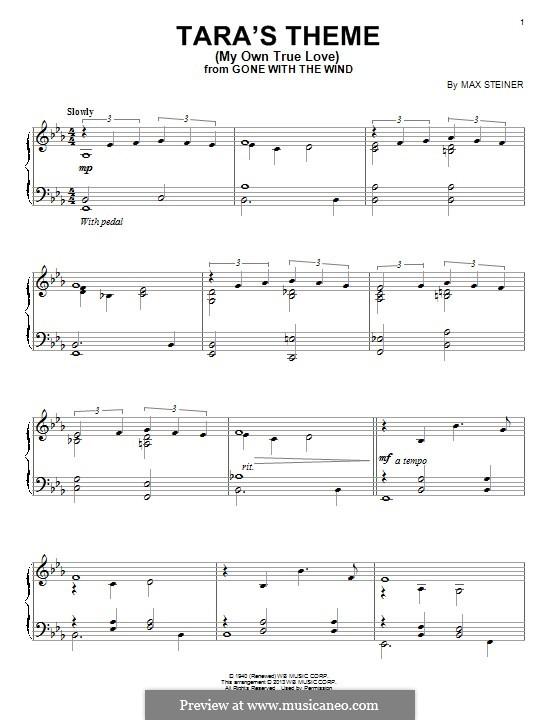 My Own True Love (Tara's Theme) from Gone with the Wind: Для фортепиано by Max Steiner