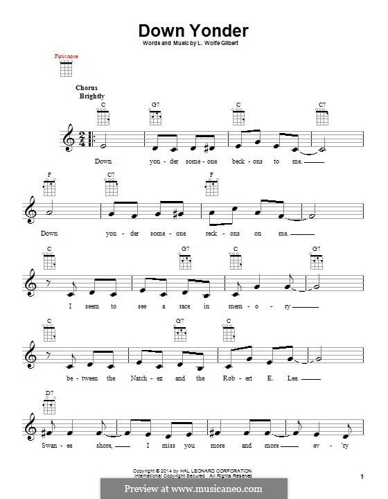 Down Yonder: Для укулеле by L. Wolfe Gilbert
