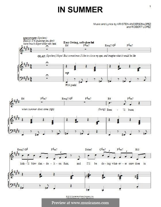 In Summer: Для голоса и фортепиано by Robert Lopez, Kristen Anderson-Lopez