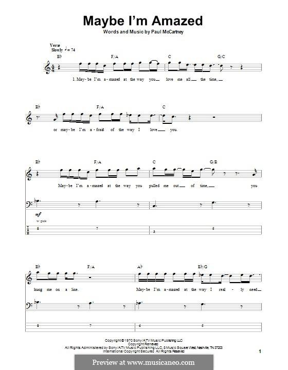 Maybe I'm Amazed: Для бас-гитары с табулатурой by Paul McCartney