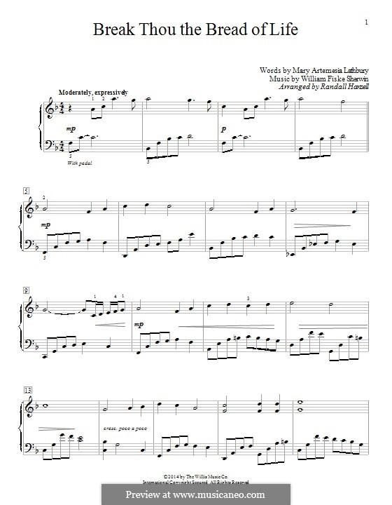 Break Thou the Bread of Life: Для фортепиано by William Fisk Sherwin