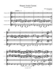 Sleepers, Awake: For clarinet quartet – score by Иоганн Себастьян Бах