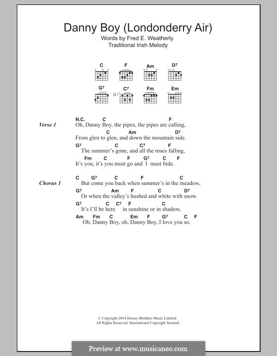 Danny Boy (Londonderry Air) Printable Scores: Текст и аккорды by folklore