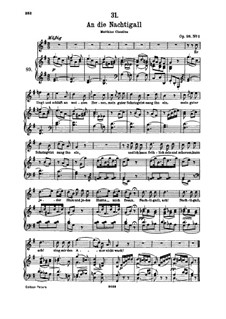 К соловью, D.497 Op.98 No.1: Для высокого голоса и фортепиано by Франц Шуберт
