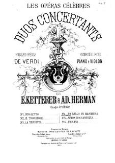 Бал-маскарад: Фрагмент, для скрипки и фортепиано by Джузеппе Верди