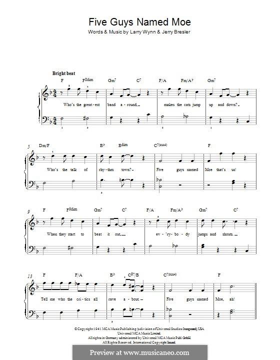 Five Guys Named Moe: Для фортепиано by Larry Wynn, Jerry Bresler
