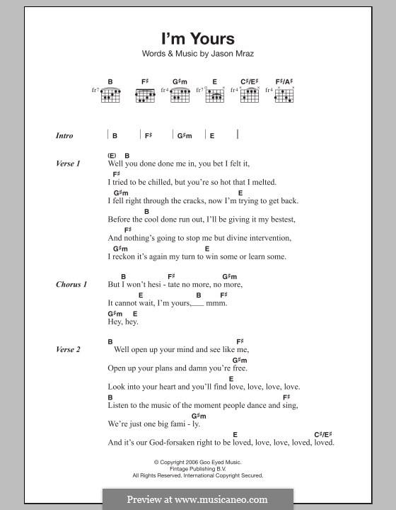 I'm Yours: Текст и аккорды by Jason Mraz