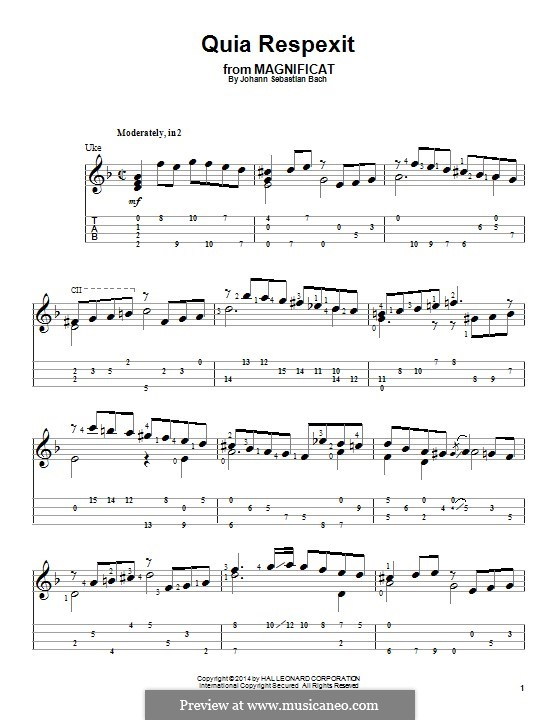 Магнификат ре мажор, BWV 243: Quia respexit, for ukulele by Иоганн Себастьян Бах