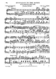 Приглашение к танцу, J.260 Op.65: Для фортепиано (Версия Ф. Листа) by Карл Мария фон Вебер