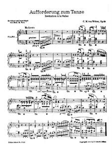 Приглашение к танцу, J.260 Op.65: Для фортепиано (Версия Ф. М. Восса) by Карл Мария фон Вебер