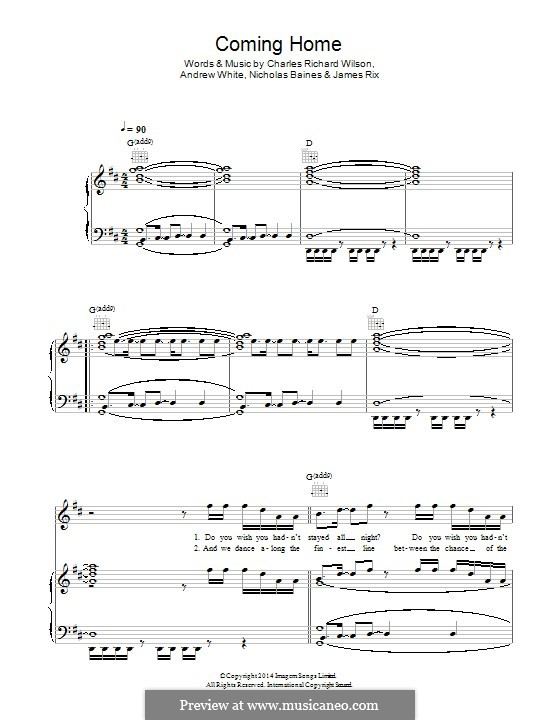 Coming Home (Kaiser Chiefs): Для голоса и фортепиано (или гитары) by Andrew White, James Rix, Nicholas Baines, Charles Wilson