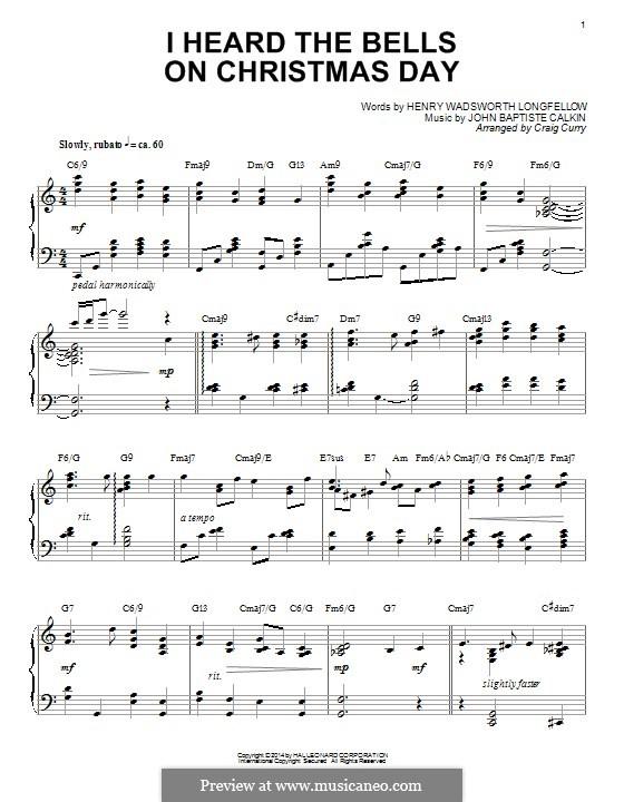 I Heard the Bells on Christmas Day: Для фортепиано by Джон Батист Калкин