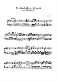 Царь-пастух, K.208: Si spande al sole in faccia, for tenor and piano by Вольфганг Амадей Моцарт