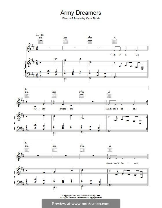 Army Dreamers: Для голоса и фортепиано (или гитары) by Kate Bush