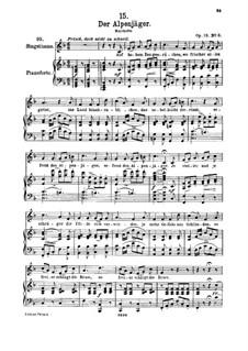 Альпийский охотник, D.524 Op.13 No.3: Для высокого голоса и фортепиано by Франц Шуберт