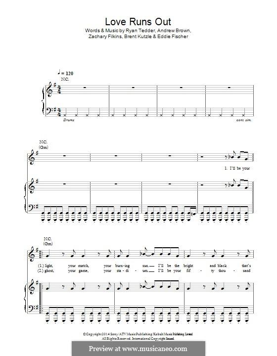 Love Runs Out (One Republic): Для голоса и фортепиано (или гитары) by Andrew Brown, Brent Kutzle, Eddie Fisher, Ryan B Tedder, Zachary Filkins