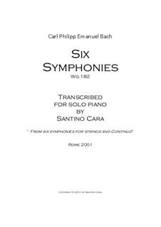 Six Symphonies, Wq 182: Complete set (piano version) by Карл Филипп Эммануил Бах