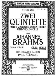 Струнный квинтет No.2 соль мажор, Op.111: Версия для фортепиано by Иоганнес Брамс