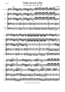 La Cetra (The Lyre). Twelve Violin Concertos, Op.9: No.6 Concerto in A Major – score and all parts, RV 348 by Антонио Вивальди
