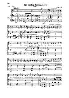 Романсы и баллады, Op.49: No.1 Two Grenadiers, for medium voice and piano by Роберт Шуман