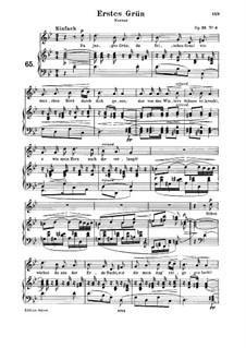Двенадцать стихотворений для голоса и фортепиано, Op.35: No.4 Erstes Grün (First Green), for medium voice and piano by Роберт Шуман