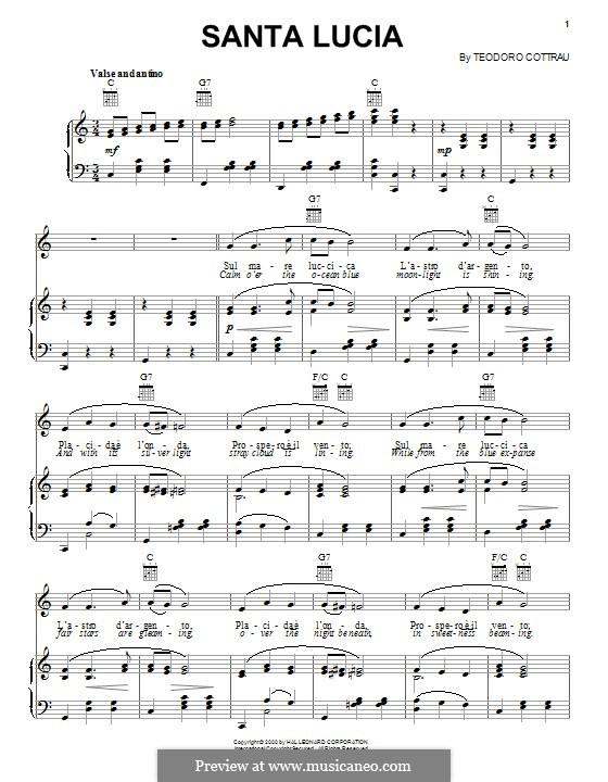 Santa Lucia: Для голоса и фортепиано (или гитары) by Teodoro Cottrau