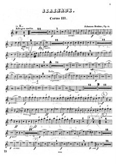 Серенада No.1 ре мажор, Op.11: Партия третьей валторны by Иоганнес Брамс