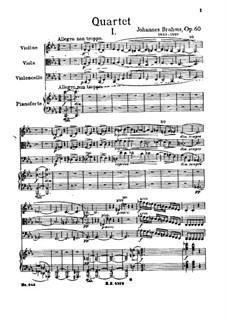 Фортепианный квартет No.3 до минор, Op.60: Часть I by Иоганнес Брамс