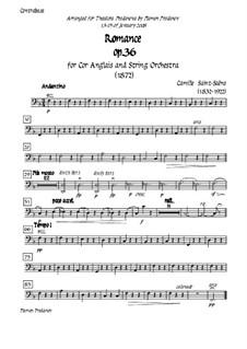 Романс для валторны (или виолончели) с оркестром, Op.36: Version for cor anglais (french horn) and strings - double bass part by Камиль Сен-Санс