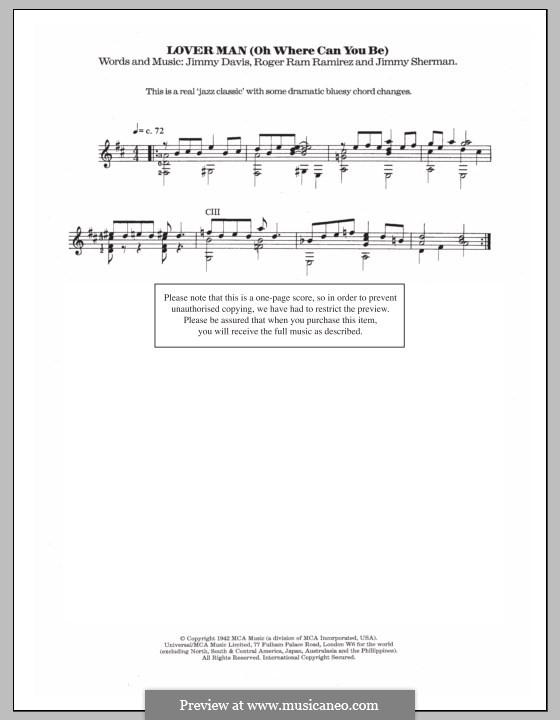 Lover Man (Oh, Where Can You Be?): Для гитары с табулатурой by Jimmie Davis, Jimmy Sherman, Roger Ramirez