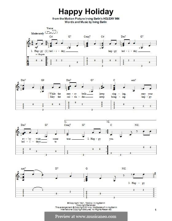 Happy Holiday: Для гитары с табулатурой by Ирвинг Берлин