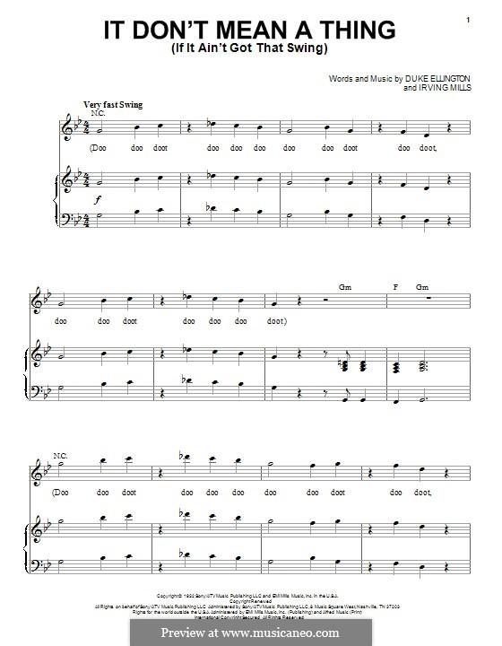It Don't Mean a Thing (If It Ain't Got That Swing): Для голоса и фортепиано by Irving Mills, Duke Ellington