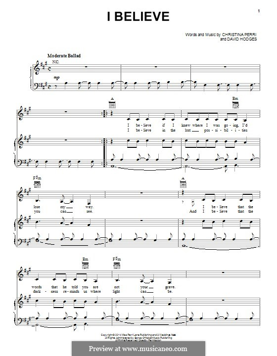 I Believe: Для голоса и фортепиано (или гитары) by Christina Perri, David Hodges