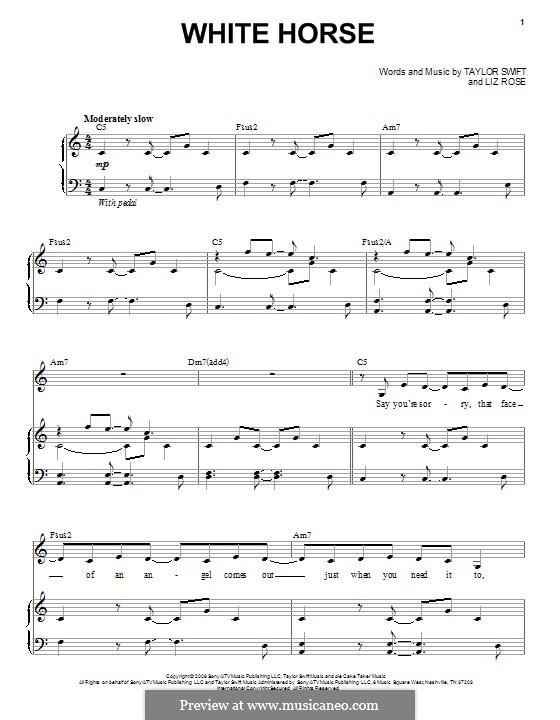 White Horse (Taylor Swift): Для голоса и фортепиано by Liz Rose