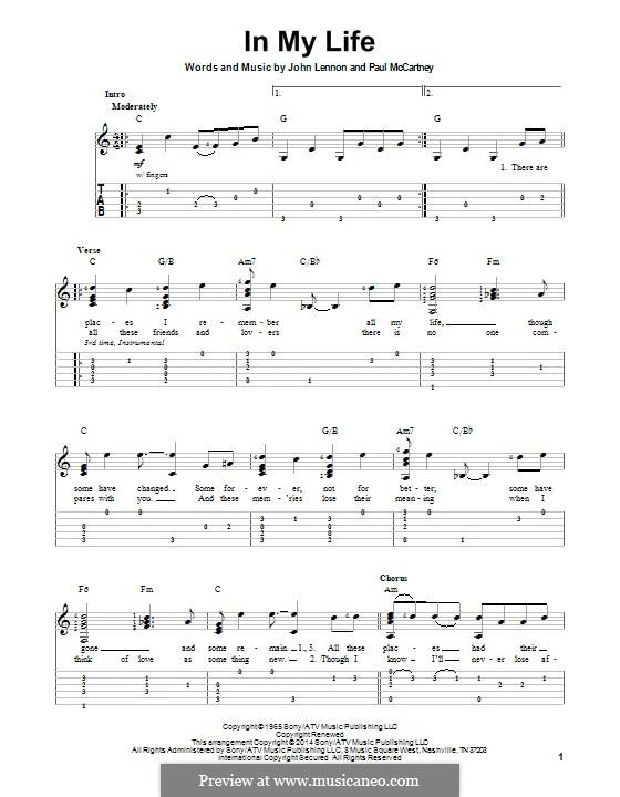 In My Life (The Beatles): Для гитары с табулатурой by John Lennon, Paul McCartney