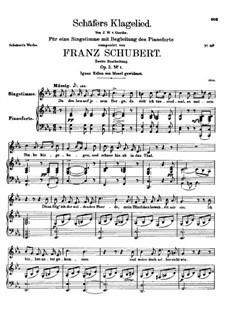 Жалобная песнь пастуха, D.121 Op.3 No.1: Для низкого голоса и фортепиано by Франц Шуберт