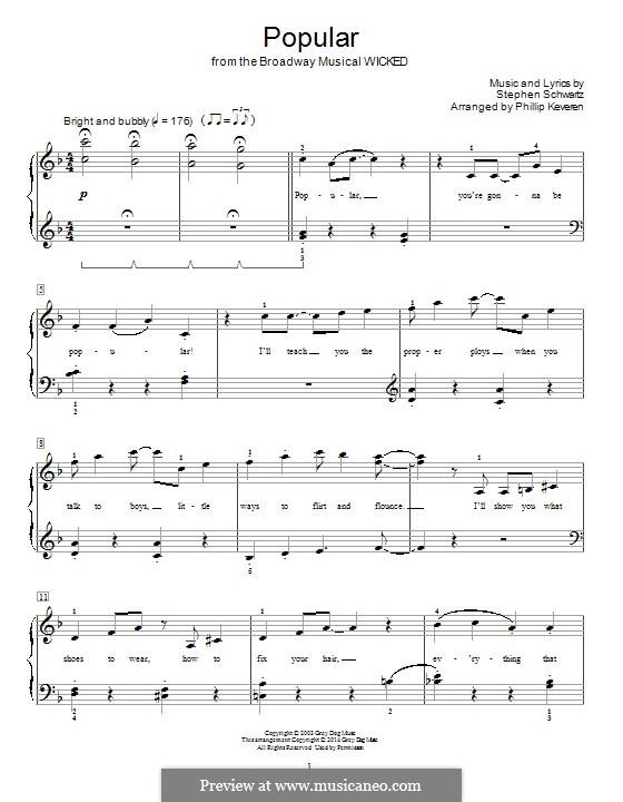 Popular (from Wicked): Для фортепиано by Stephen Schwartz