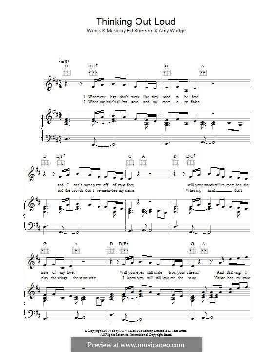 Thinking Out Loud: Для голоса и фортепиано (или гитары) by Ed Sheeran, Amy Wadge