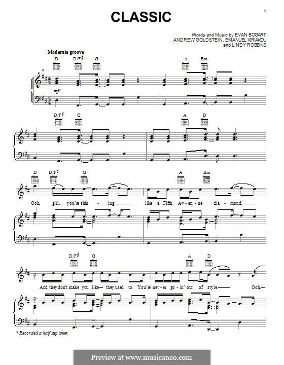 Classic (MKTO): Для голоса и фортепиано (или гитары) by Evan Kidd Bogart, Emanuel Kiriakou, Lindy Robbins, Andrew Goldstein