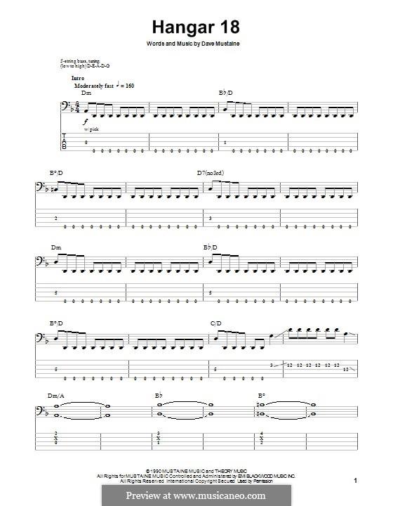 Hangar 18 (Megadeth): Для бас-гитары с табулатурой by Dave Mustaine