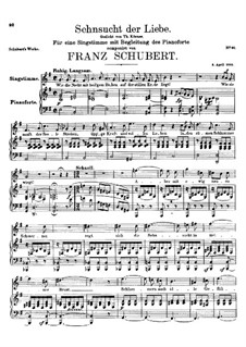 Sehnsucht der Liebe (Love's Yearning), D.180: E minor by Франц Шуберт