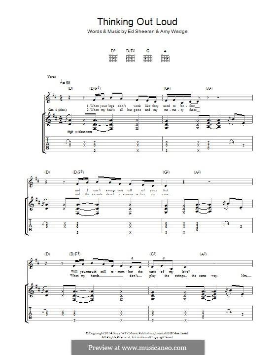 Thinking Out Loud: Для гитары с табулатурой by Ed Sheeran, Amy Wadge