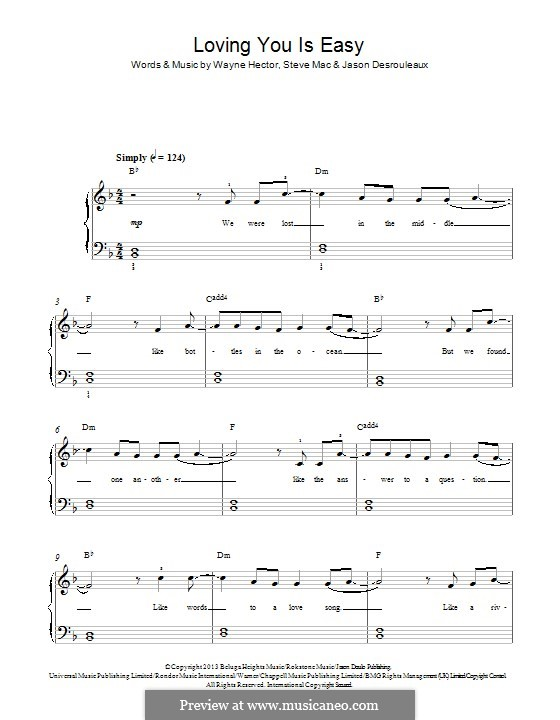 Loving You Is Easy (Union J): Для фортепиано by Jason Desrouleaux, Steve Mac, Wayne Anthony Hector