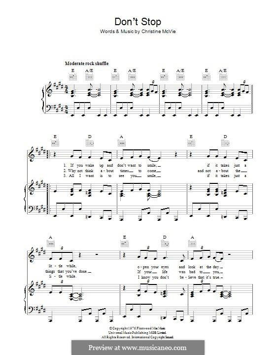 Don't Stop (Fleetwood Mac): Для голоса и фортепиано (или гитары) by Christine McVie
