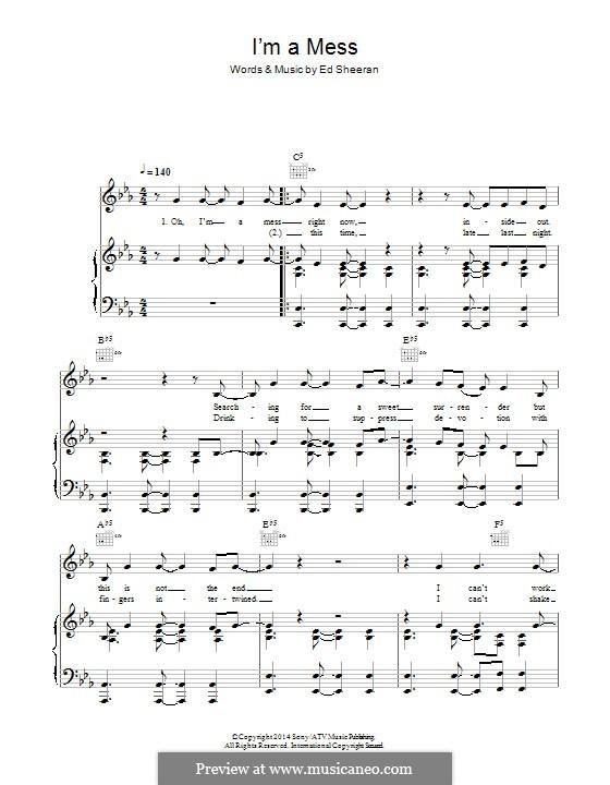I'm a Mess: Для голоса и фортепиано (или гитары) by Ed Sheeran