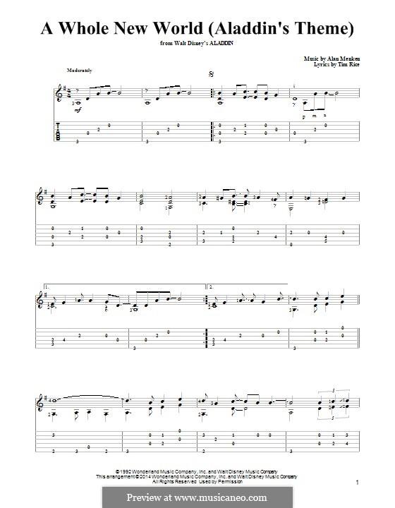 A Whole New World (from Aladdin): Для гитары с табулатурой by Alan Menken
