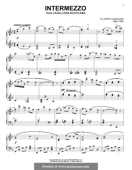 Сельская честь: Intermezzo, for piano by Пьетро Масканьи