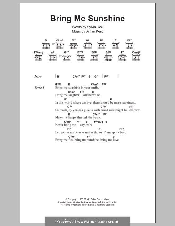 Bring Me Sunshine: Текст и аккорды by Arthur Kent