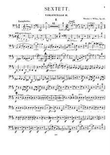 Струнный секстет, Op.27: Партия II виолончели by Николай фон Вильм